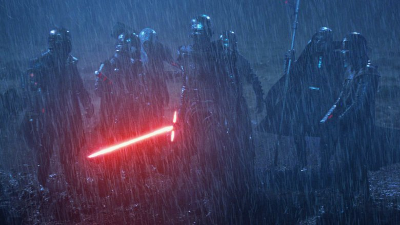 """The Knights of Ren and Adam Driver as Kylo Ren in """"Star Wars: Episode VII — The Force Awakens"""""""