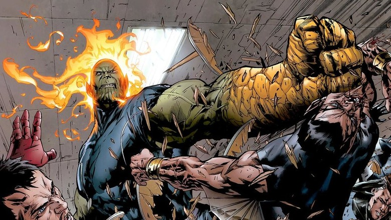 A shot from the comics of the Super Skrull fighting the Avengers
