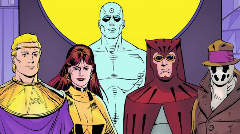 Group shot of the heroes from Watchmen