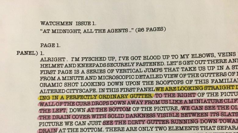 Copies of Alan Moore's original Watchmen script