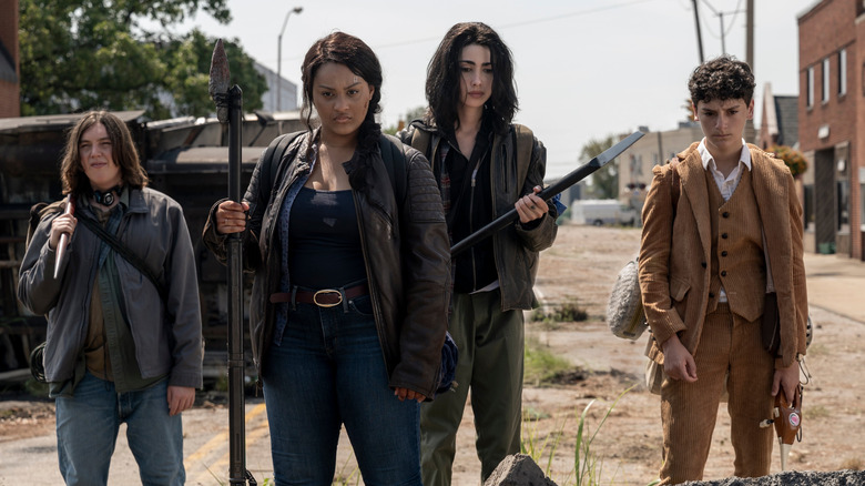 Hal Cumpston, Aliyah Royale, Alexa Mansour, and Nicolas Cantu as Silas, Iris, Hope, and Elton on Walking Dead: World Beyond