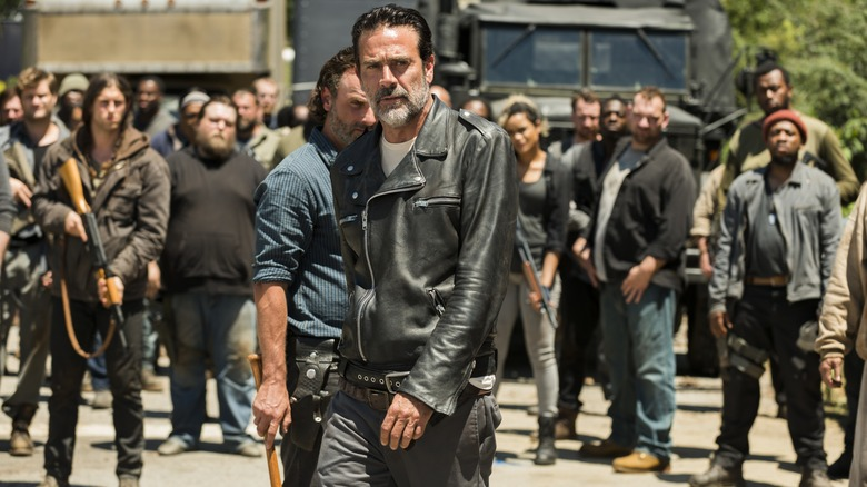 Jeffrey Dean Morgan as Negan leading the Saviors on The Walking Dead