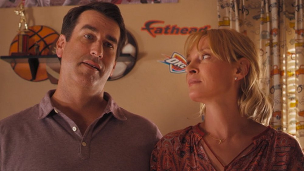 Rob Riggle and Uma Thurman in The War with Grandpa