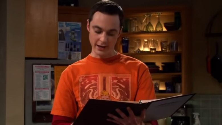 Jim Parsons as Sheldon Cooper reading from the Roommate Agreement on The Big Bang Theory