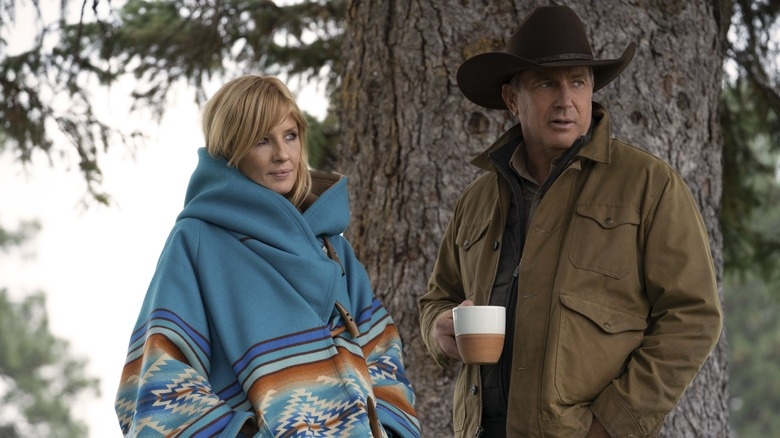 Kelly Reilly and Kevin Costner on Yellowstone