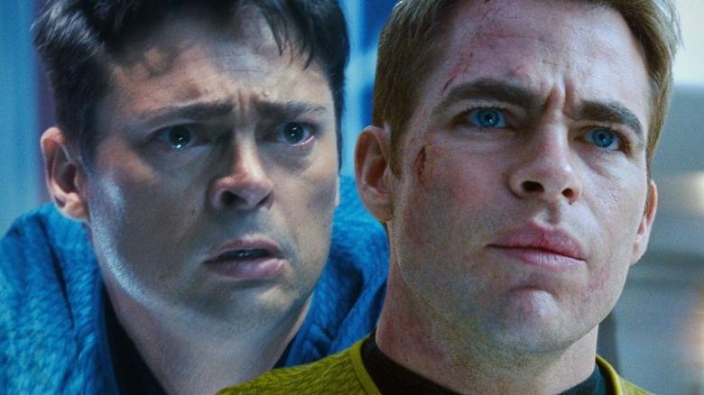Karl Urban and Chris Pine as Dr. McCoy and James T. Kirk in Star Trek (2009)