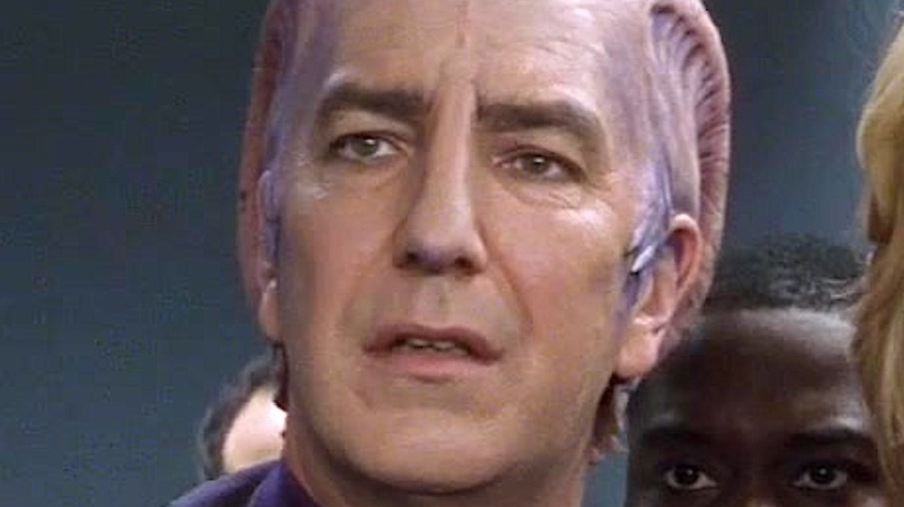 An extreme close-up of Alan Rickman's face in Galaxy Quest