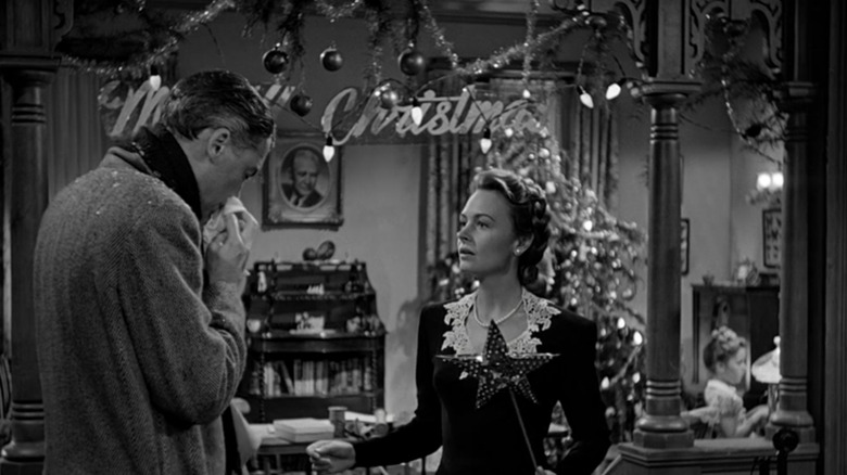Jimmy Stewart as George Bailey and Donna Reed as Mary Bailey in It's a Wonderful Life