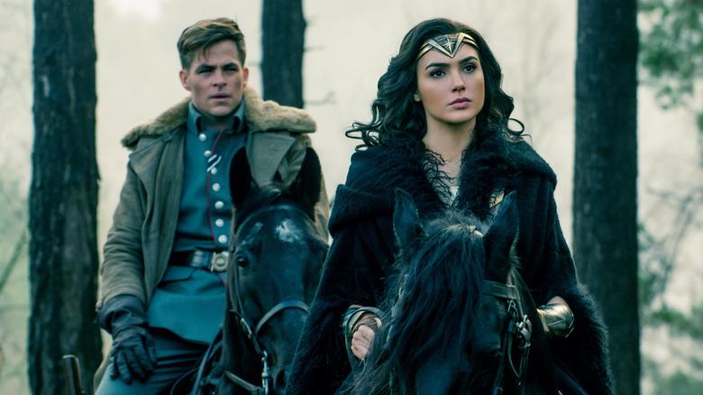Wonder Woman and Steve Trevor on Horses