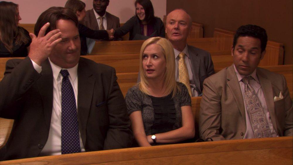 Brian Baumgartner, Angela Kinsey, Creed Bratton, and Oscar Nunez in The Office
