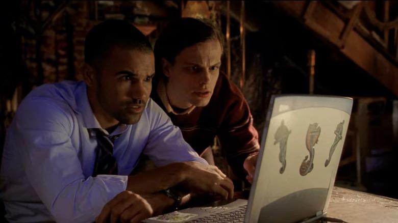 Matthew Gray Gubler and Shemar Moore as Spencer Reid and Derek Morgan on Criminal Minds