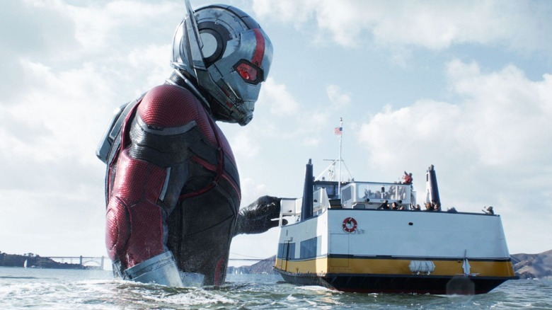 Huge Ant-Man touches boat