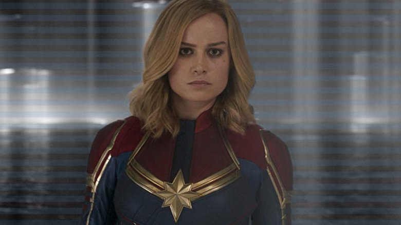 Brie Larson as Captain Marvel red blue and gold uniform