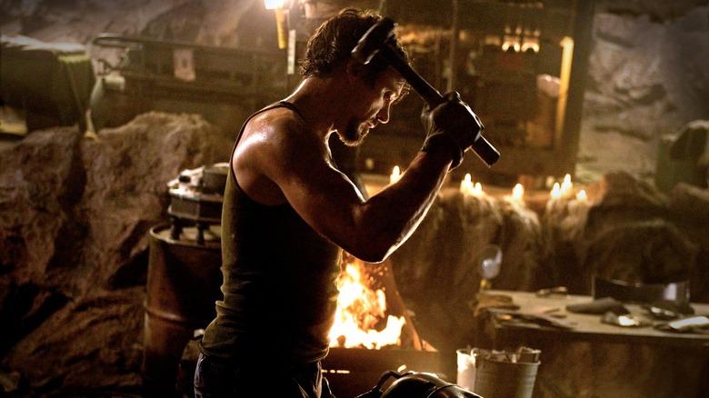 Tony Stark building his original Iron Man armor