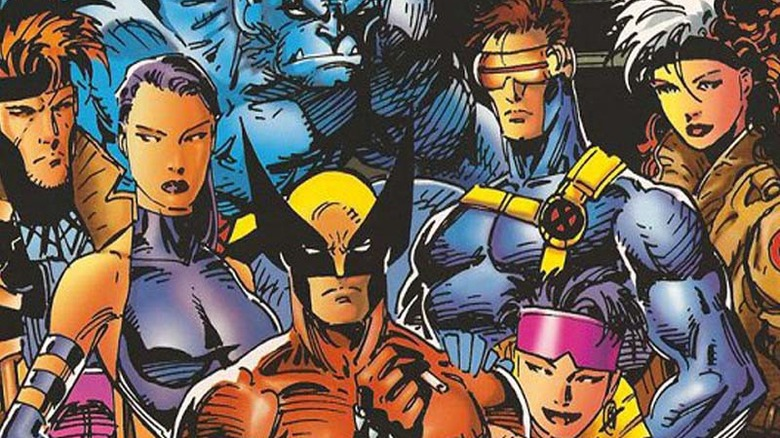 The X-Men, led by Wolverine, Cyclops, Psylocke, Jubilee, Beast, Gambit, and Rogue