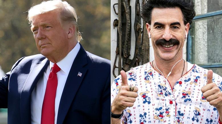 Donald Trump and Sacha Baron Cohen as Borat