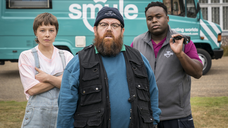 Nick Frost, Emma D'Arcy, and Samson Kayo as the Truth Seekers on Amazon's Truth Seekers