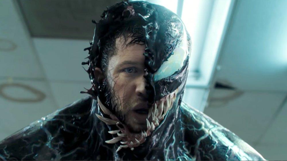 Tom Hardy in symbiote mode in Venom