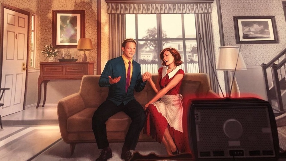 Paul Bettany and Elizabeth playing the happy couple in WandaVision promo art