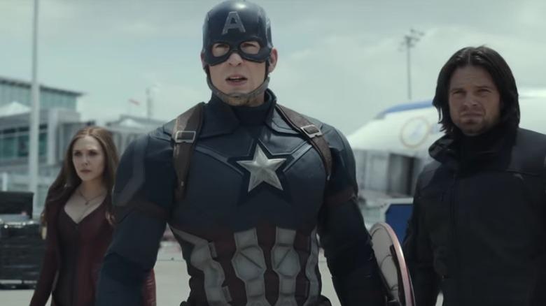 Chris Evans, Elizabeth Olsen, and Sebastian Stan in Captain America: Civil War