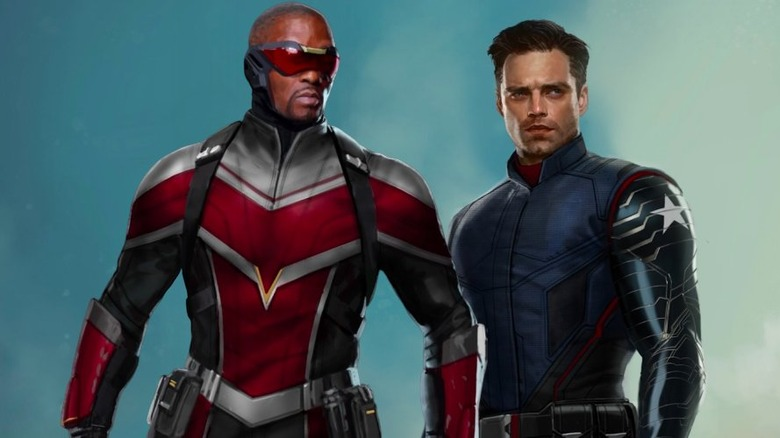 Anthony Mackie and Sebastian Stan as Falcon and the Winter Soldier