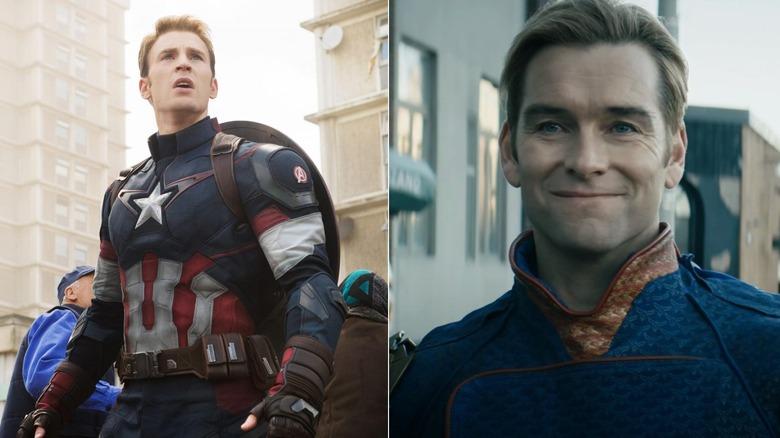 Chris Evans as Captain America in Avengers: Endgame and Antony Starr as Homelander in The Boys
