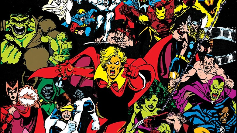 Adam Warlock leading Earth's heroes against Thanos on the cover of 1991's Infinity Gauntlet #3