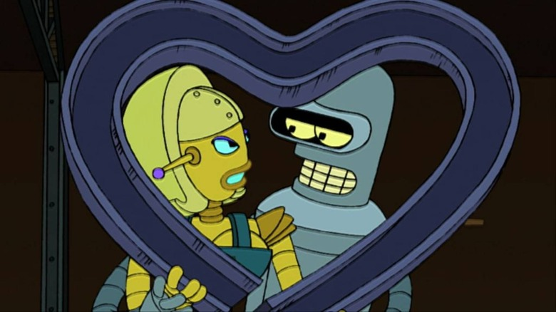 Bender had a short-lived romance with Angelyne on Futurama