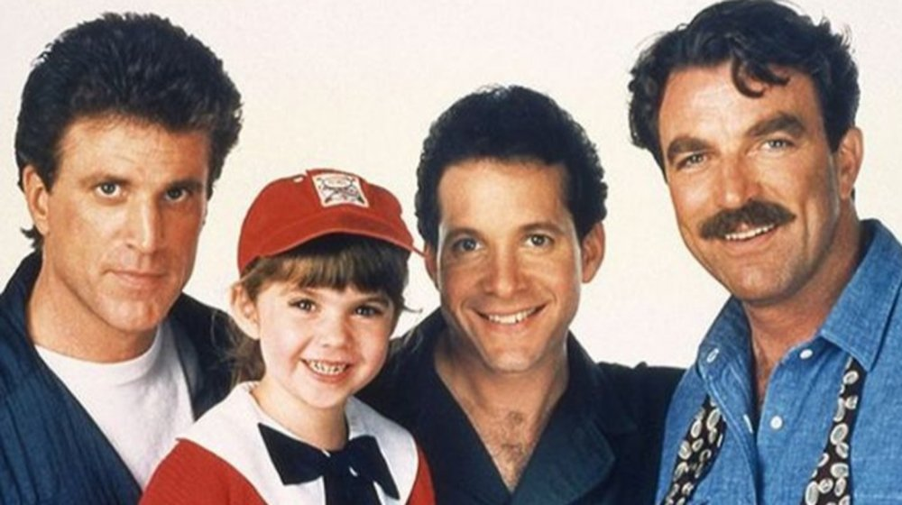 Tom Selleck, Ted Danson, Steve Guttenberg, and Robin Weisman in Three Men and a Little Lady