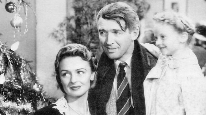 Donna Reed, James Stewart, and Karolyn Grimes in It's a Wonderful Life