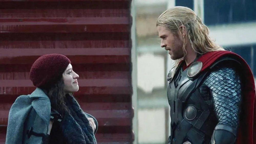Kat Dennings and Chris Hemsworth in Thor