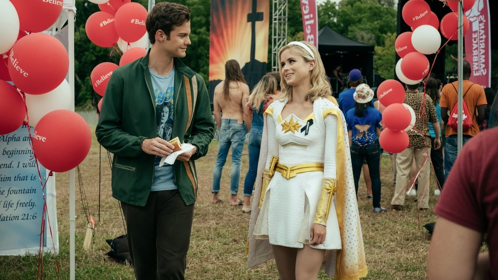 Jack Quaid as Hughie Campbell and Erin Moriarty as Starlight on The Boys