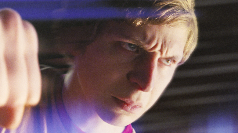 Extreme close-up of Michael Cera's face from Scott Pilgrim vs. the World