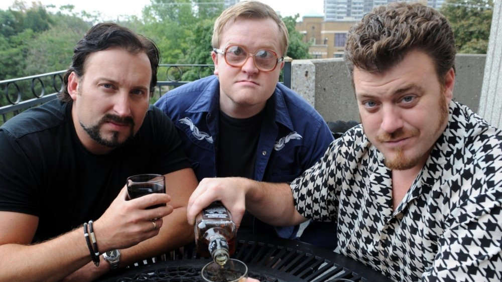 John Paul Tremblay as Julian, Mike Smith as Bubbles, and Robb Wells as Ricky in Trailer Park Boys
