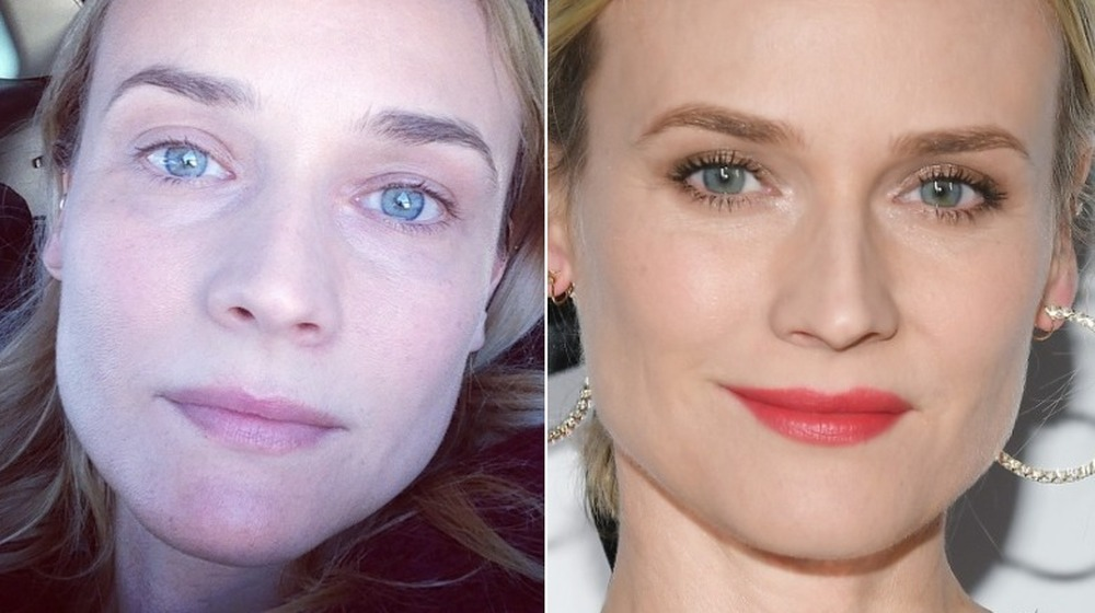 Diane Kruger without and with makeup