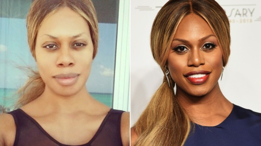 Laverne Cox without and with makeup