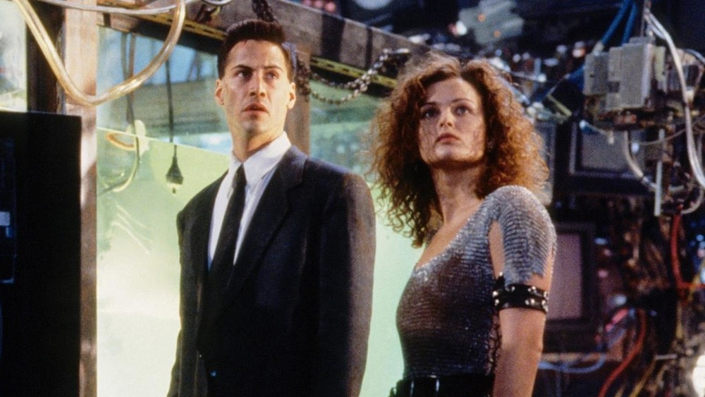 Keanu Reeves and Dina Meyer in Johnny Menmonic