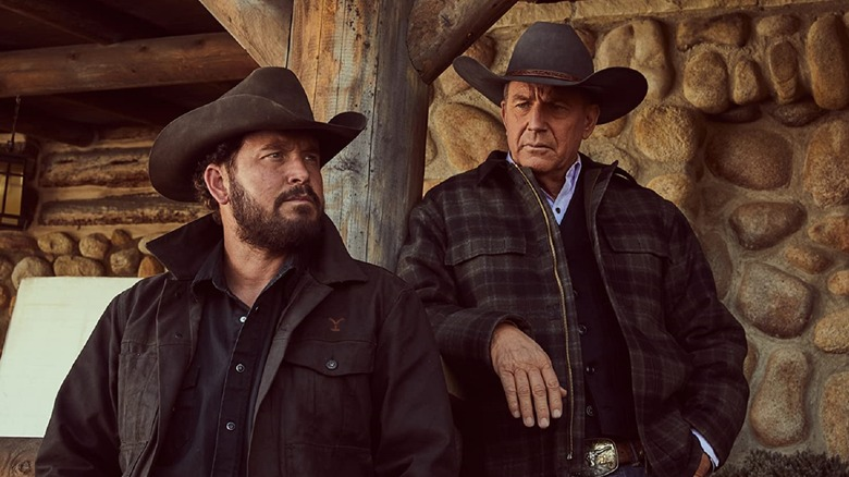 Cole Hauser and Kevin Costner as Rip and John on Yellowstone