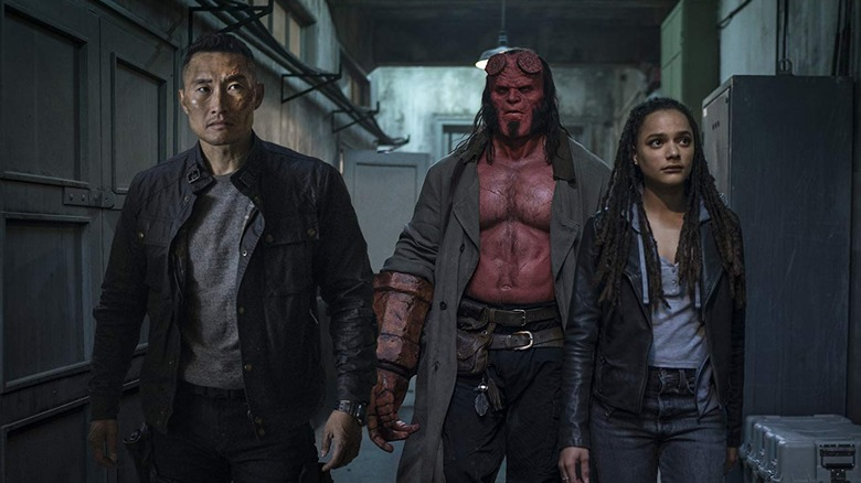 Daniel Dae Kim, David Harbour, and Sasha Lane in Hellboy