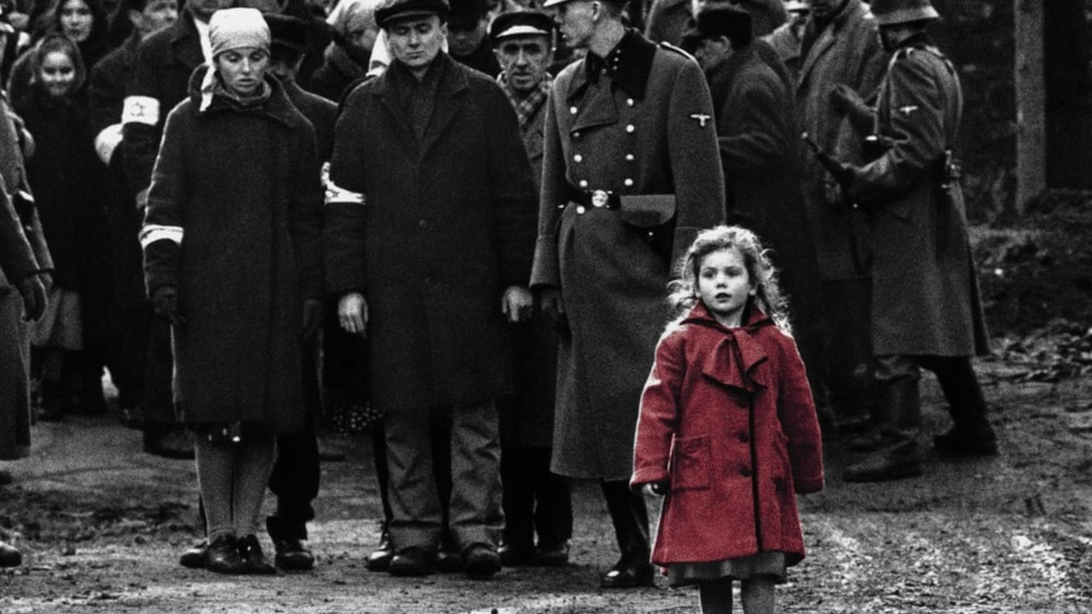 Oliwia Dąbrowska as the red coat girl in Schindler's List