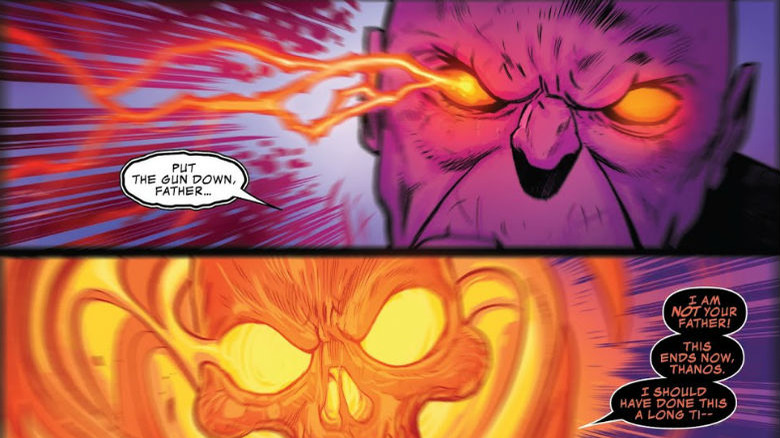 Thanos and Cosmic Ghost Rider about to throw down in Cosmic Ghost Rider #4