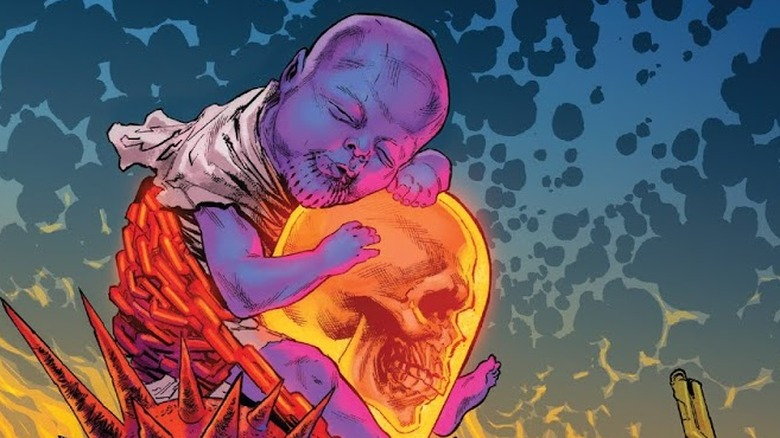 Baby Thanos and Cosmic Ghost Rider from the cover of Cosmic Ghost Rider #4