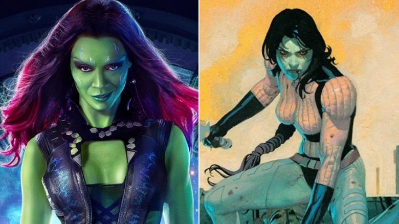 Split image of movie Gamora and comic book Gamora