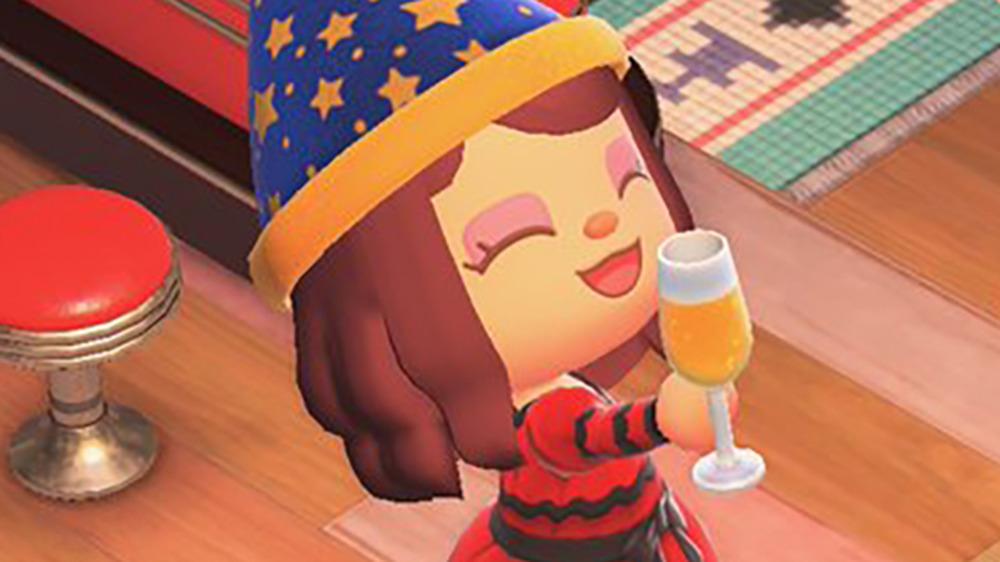 Villager holding cider in Animal Crossing