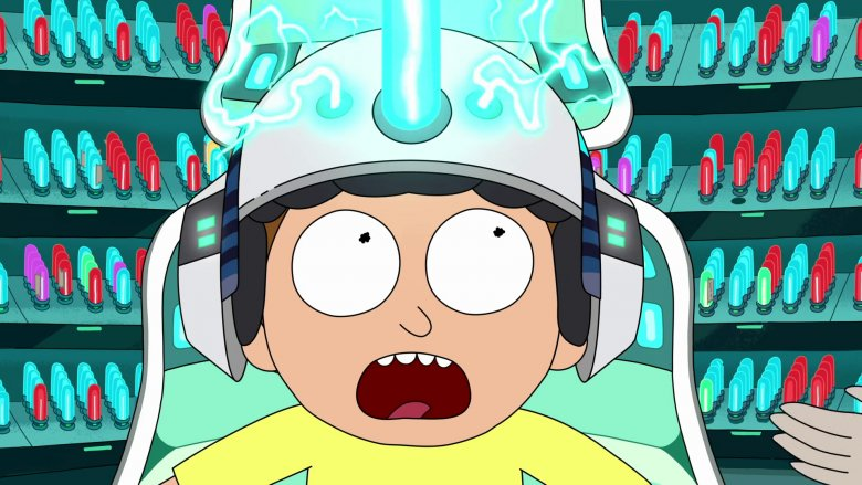 Rick and Morty Morty Smith screaming with helmet on