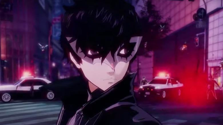 Joker wearing a white domino mask