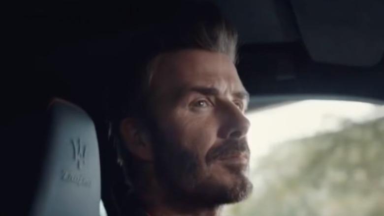 David Beckham looking in mirror