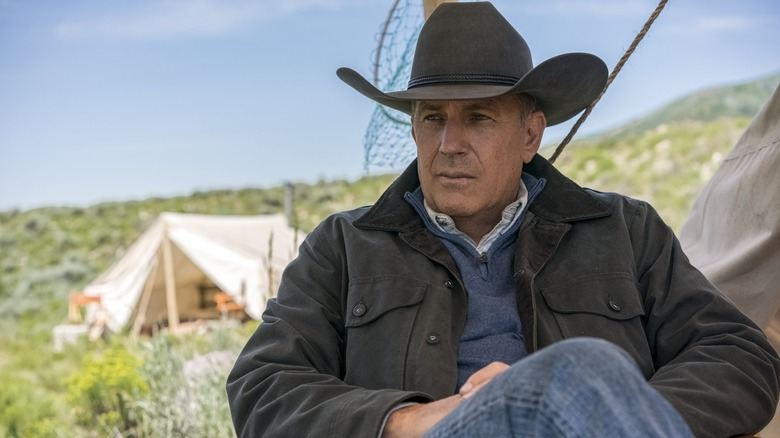 Kevin Costner's John Dutton surveys his land on Yellowstone