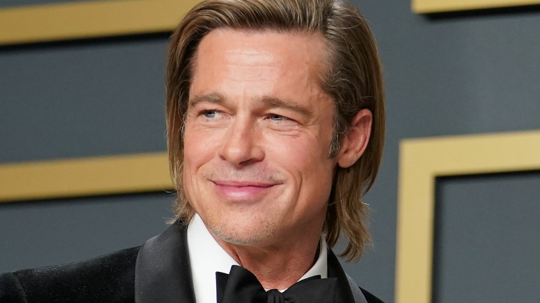 Brad Pitt with his Best Supporting Actor Oscar gold at the 2020 Oscars