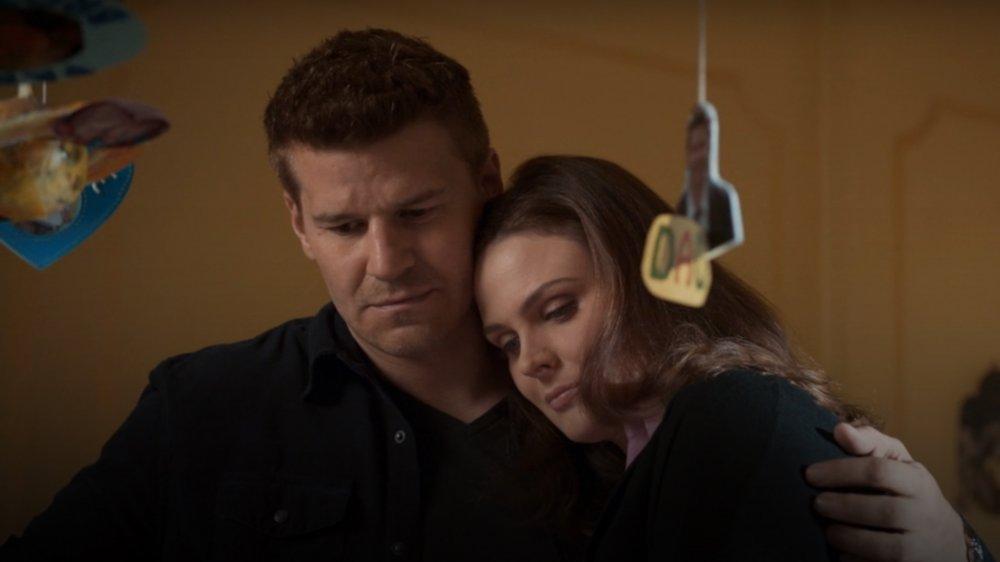 Emily Deschanel and David Boreanaz as Temperance Brennan and Seeley Booth on Bones
